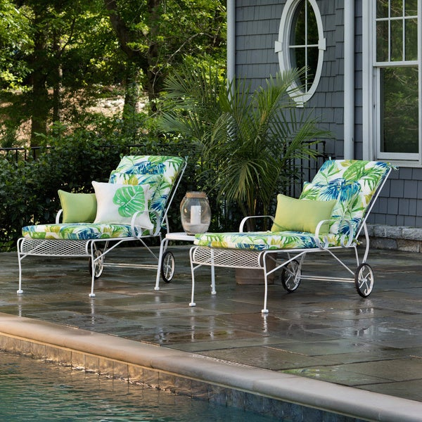 Pillow perfect outdoor indoor soleil blue green chaise for Blue chaise lounge indoor