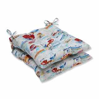 Pillow Perfect Outdoor/ Indoor Spinnaker Bay Sailor Wrought Iron Seat Cushion (Set of 2)