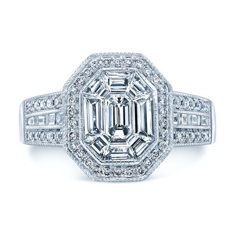 Platinum 1 2/5ct TDW Diamond Asscher Ring