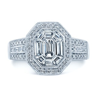 Platinum 1 2/5ct TDW Diamond Asscher Ring (H-I, VS1-VS2)