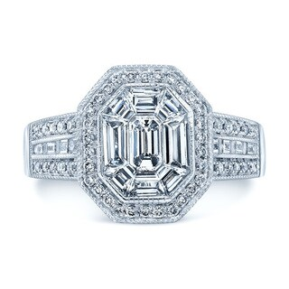 Platinum 1 2/5ct TDW Diamond Asscher Ring