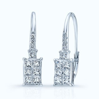 14k White Gold 5/8ct TDW Diamond Drop Earrings (H-I, VS1-VS2)