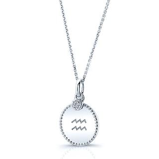 14k White Gold Diamond Accent Zodiac Symbol Charm Pendant (H-I, SI1-SI2)