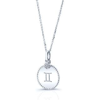 14k White Gold Diamond Accent Cut-out Zodiac Pendant (H-I, SI1-SI2)