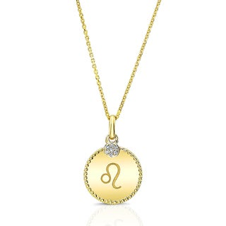 14k Yellow Gold Diamond Accent Unique Zodiac Pendant