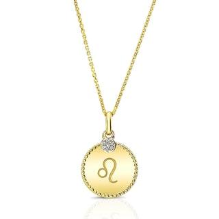 14k Yellow Gold Diamond Accent Unique Zodiac Pendant (H-I, SI1-SI2)
