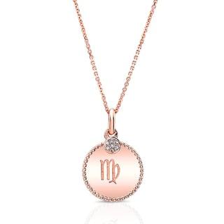 14k Rose Gold Diamond Accent Zodiac Symbol Pendant (H-I, VS1-VS2)