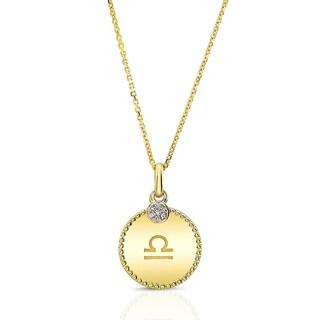 14k Yellow Gold Diamond Accent Zodiac Symbol Pendant (H-I, SI1-SI2)