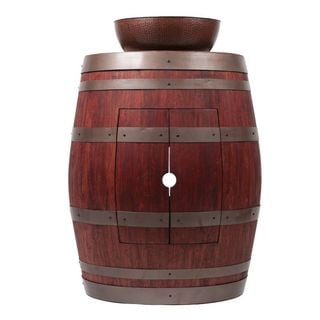 Premier Copper Products Wine Barrel Cabernet Finish Vanity Package with 15-inch Round Vessel Sink