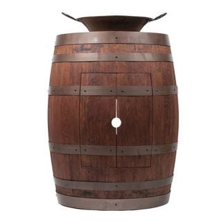 Premier Copper Products Wine Barrel Whiskey Finish Vanity Package with 16-inch Round Miners Pan Vessel Sink