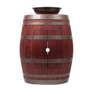 Premier Copper Products Wine Barrel Cabernet Finish Vanity Package with 15-inch Round Wired Rim Vessel Sink
