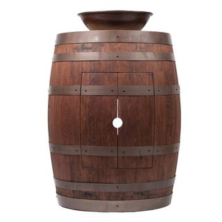 Premier Copper Products Wine Barrel Whiskey Finish Vanity Package with 15-inch Round Wired Rim Vessel Sink
