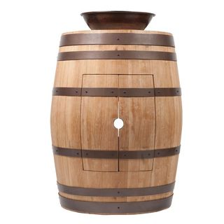 Premier Copper Products Wine Barrel Natural Finish Vanity Package with 15-inch Round Wired Rim Vessel Sink