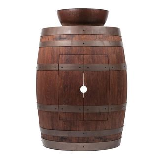 Premier Copper Products Wine Barrel Whiskey Finish Vanity Package with 15-inch Round Vessel Sink