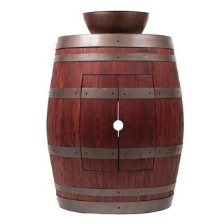 Premier Copper Products Wine Barrel Cabernet Finish Vanity Package with 13-inch Round Vessel Sink