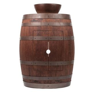 Premier Copper Products Wine Barrel Whiskey Finish Vanity Package with 13-inch Round Vessel Sink