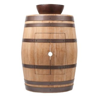 Premier Copper Products Wine Barrel Natural Finish Vanity Package with 13-inch Round Vessel Sink