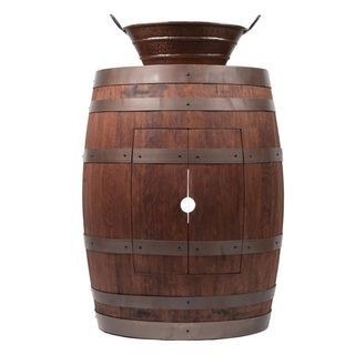 Premier Copper Products Wine Barrel Whiskey Finish Vanity Package with 16-inch Oval Bucket Vessel Sink with Handles