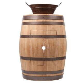 Premier Copper Products Wine Barrel Natural Finish Vanity Package with 16-inch Oval Bucket Vessel Sink with Handles