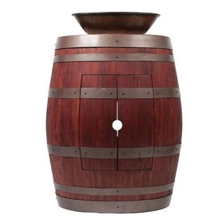 Premier Copper Products Wine Barrel Cabernet Finish Vanity Package with 17-inch Oval Wired Rim Vessel Sink