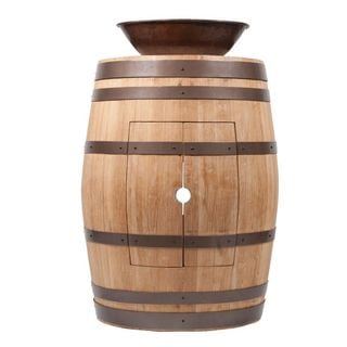 Premier Copper Products Wine Barrel Natural Finish Vanity Package with 17-inch Oval Wired Rim Vessel Sink