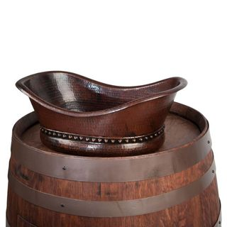 Premier Copper Products Wine Barrel Whiskey Finish Vanity Package with Bath Tub Vessel Sink