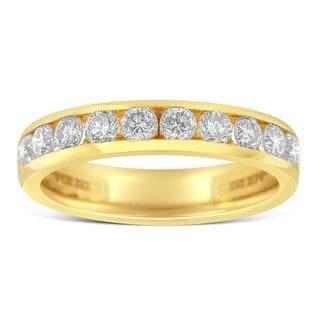 18k Yellow Gold 1ct TDW Round Diamond Wedding Ring (H-I, SI1-SI2)