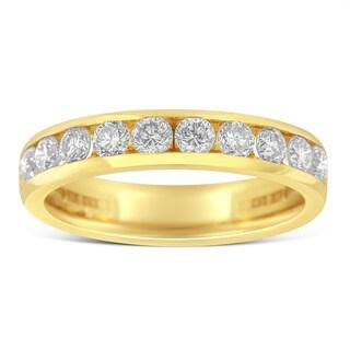 18k Yellow Gold 1ct TDW Round Diamond Wedding Ring (H-I,SI1-SI2)