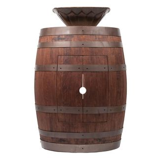 Premier Copper Products Wine Barrel Whiskey Finish Vanity Package with Square Feathered Vessel Hammered Copper Sink