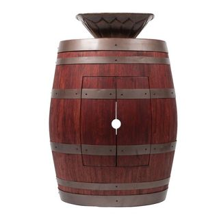 Premier Copper Products Wine Barrel Cabernet Finish Vanity Package with Square Feathered Vessel Hammered Copper Sink