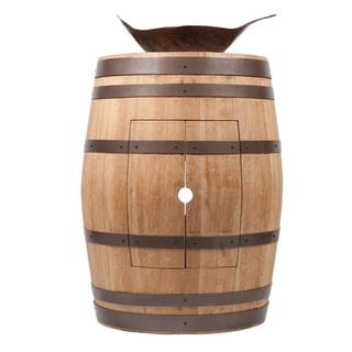 Premier Copper Products Wine Barrel Natural Finish Vanity Package with Leaf Vessel Hammered Copper Sink