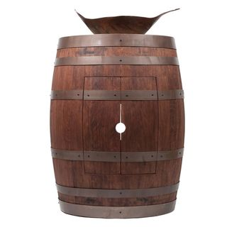 Premier Copper Products Wine Barrel Whiskey Finish Vanity Package with Leaf Vessel Hammered Copper Sink