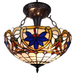 Amora Lighting Tiffany Style Victorian Design 2-light Pendant Lamp