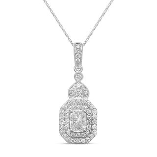 Unending Love 14k White Gold 3/4ct TDW Emerald-cut Diamond Pendant Necklace (H-I, SI3)