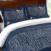 Blue Typographic US Map Standard Sham