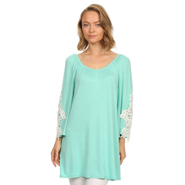 9c761e1b1718 Shop Moa Collection Women's Solid Color Lace Inset Tunic - Free ...