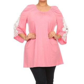 Moa Collection Women's Plus Size Crochet Lace Trim Tunic