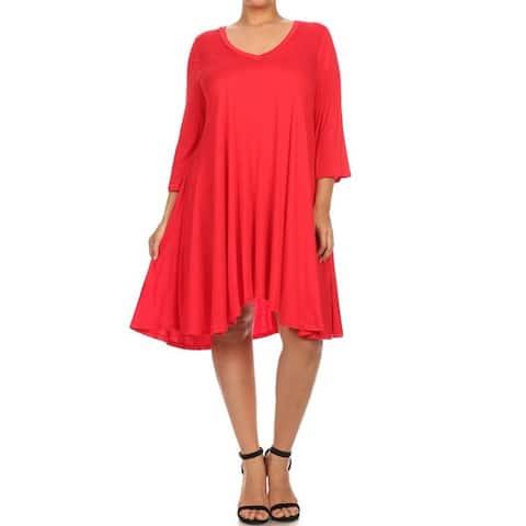 Moa Collection Women's Plus Size Midi Dress