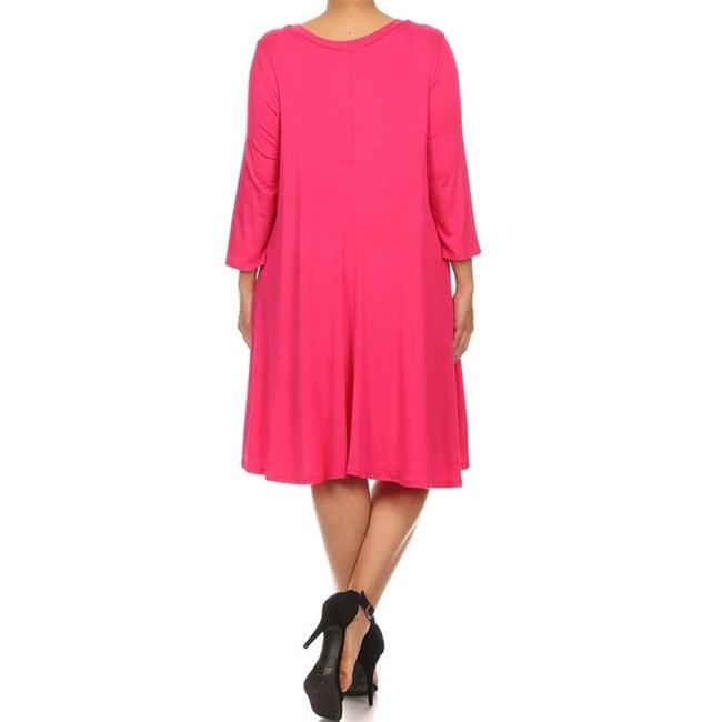 Moa-Collection-Women-039-s-Plus-Size-Midi-Dress thumbnail 9