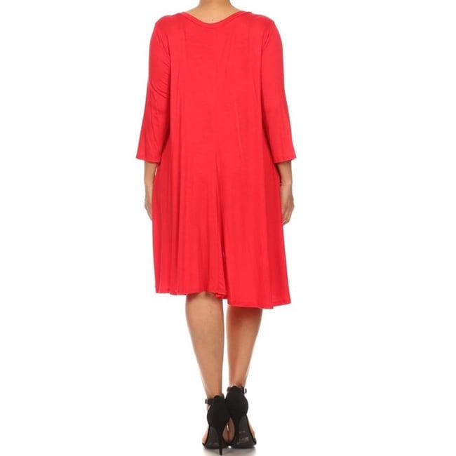 Moa-Collection-Women-039-s-Plus-Size-Midi-Dress thumbnail 8