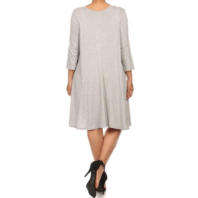 Moa-Collection-Women-039-s-Plus-Size-Midi-Dress thumbnail 10