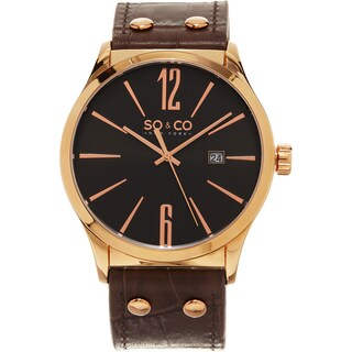 SO&CO New York Men's Madison Quartz Brown Leather Strap Watch
