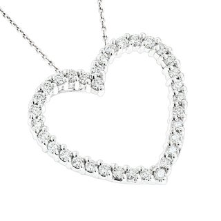 Luxurman 14k White Gold 3/4ct TDW Diamond Open Heart Pendant (H-I, SI1-SI2)