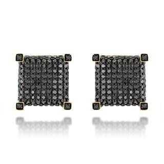 Luxurman 10k Gold 1 1/6ct TDW Black Diamond Earrings