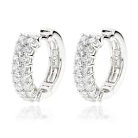 Luxurman 14k Gold 1 3/4ct TDW Diamond Double Row Hoop Earrings