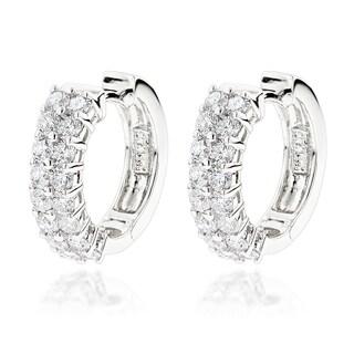 Luxurman 14k Gold 1 3/4ct TDW Diamond Double Row Hoop Earrings