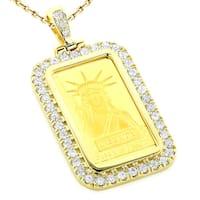 Luxurman 14k and 24k Yellow Gold 2 1/5ct TDW Diamond Statue of Liberty Diamond Pendant