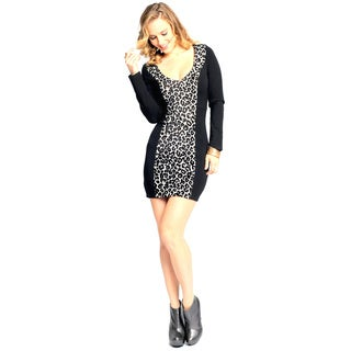 Sara Boo Women's Animal Print Detail Bodycon Dress