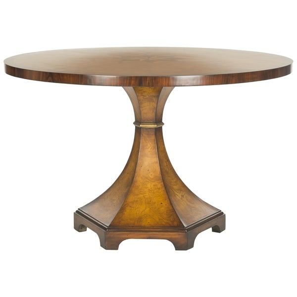 safavieh couture high line collection oriel acacia ash burl walnut round center table free. Black Bedroom Furniture Sets. Home Design Ideas