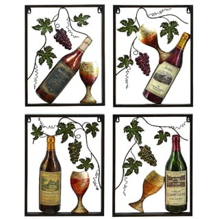 La Vino Metal Wall Art Decor (Set of 4)